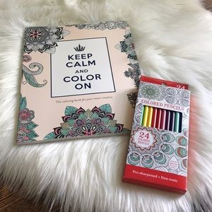 Other - ADULT COLORING BOOK AND COLORED PENCIL BUNDLE-NWT